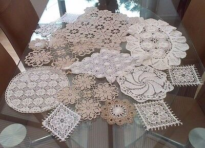Job Lot 14 Vintage Hand Crocheted Cotton And Lace Doilies