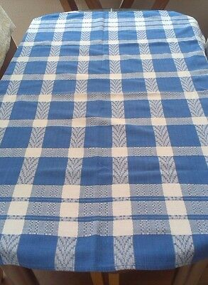 """Vintage Blue And White Checked Indian Cotton Tablecloth ~ 48"""" X 47"""""""