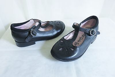 Pretty M&s Girls Black Leather Summer School Shoes Size 10½/28½