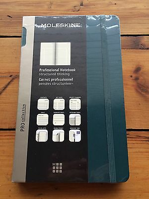 """Moleskine 5"""" x 8 1/4"""" Professional Notebook With Dark Teal Cover- New And Sealed"""