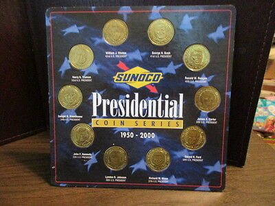 Sunoco Presidential Coin Series Set of 10 Brass Coins, 1950-2000 - Complete