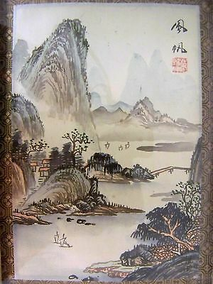 Vintage CHINESE Watercolor Ink Figures/Landscape PAINTING on SILK Artist Signed