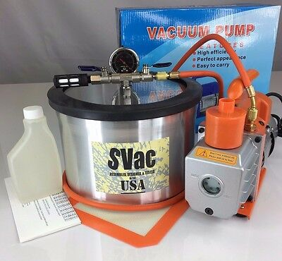 2 Gallon Vacuum Chamber and 3CFM Single Stage Pump Degassing Silicone Kit