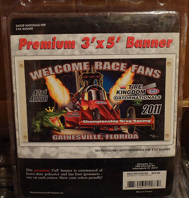 NHRA Welcome Race Fans Tire Kingdom Gator Nationals 3' x 5' Flag! Brand New!
