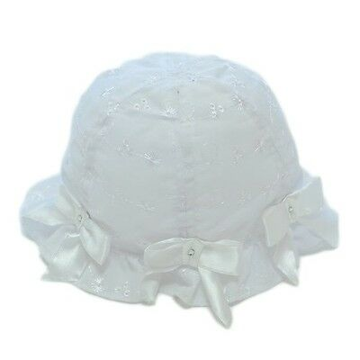 Romany Style Hat Sparkle Bows Broderie Anglaise White Sun Bonnet by Pesci Baby