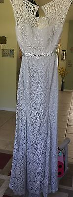 Silver/Gray Brocade Lace Wedding Dress Gown Bride Mother Of The Bride/Groom Sz 9