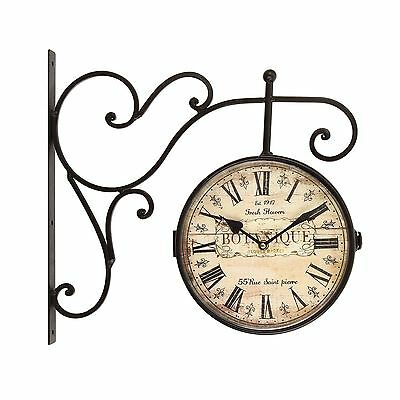 Wrought Iron Antique-Look Brown, Round Wall Hanging Double Side Two Faces