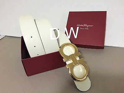 Authentic New Men's White/black Reversible Ferragamo Belt 100cm 34-36 Waist