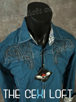 Mens HOUSE OF LORDS Button Shirt Teal with Embroidery and Blue Stones