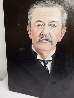 really OLD PAINTING portrait art deco oil on canvas