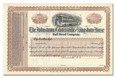 Johnstown, Gloversville and Kingsboro Horse Rail Road Company Stock Certificate