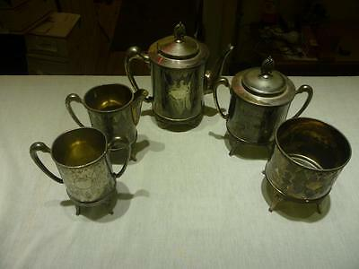Vintage Aurora Triple Plate Silver Plate Tea set #987 lot of 5