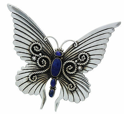 Lee Charley, Pin, Pendant, Butterfly, Lapis, Silver, Navajo Handmade, 2.75 in