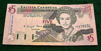 Eastern Caribbean Central Bank $5 Dollar Currency Note---Circulated