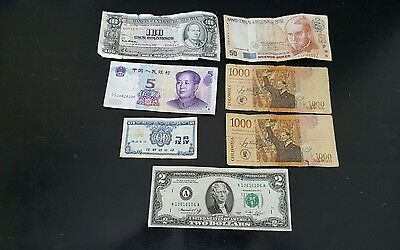 Lot Of 7 Foreign Money Bills Different Countries Loooooooooooooook