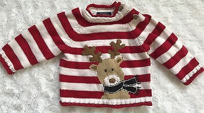 Baby The Children's Place Christmas Reindeer Sweater Red Stripes 0-3 months