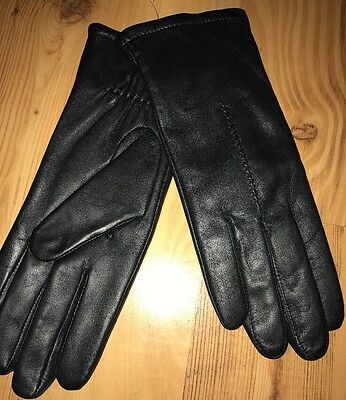 NWT Women's Black Fownes Genuine Leather Hand Gloves 7.5 Fleece Lined