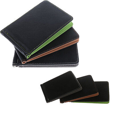 Men Solid Thin Money Clips Short Purse PU Leather Wallet ID Card Holder