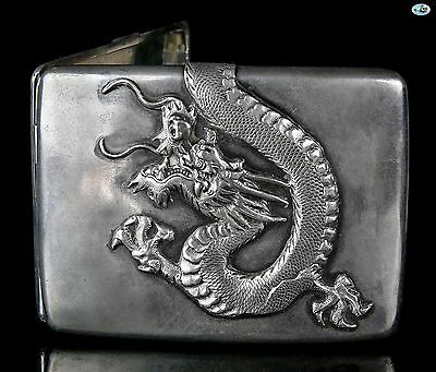 Rare Antique Zee Sung Shanghai Chinese Asian Silver Dragon Cigarette Case