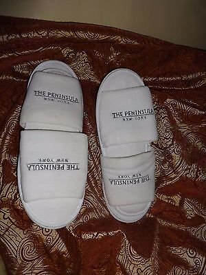 PENINSULA White Hotel Collection Open Toe Waffle Weave Spa Slippers, One Size