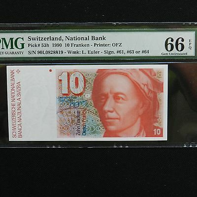 1990 Switzerland 10 Franken, Pick # 53h, PMG 66 EPQ Gem Unc