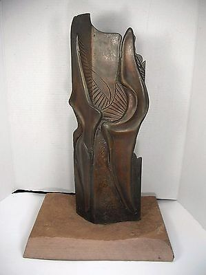 Vtg 1982 Solid Bronze Abstract Sculpture - Mid Century Modern - Signed LONDON