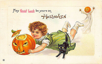May Good Luck Be Yours on Halloween Black Cat Girl J-O-L Ghost Postcard