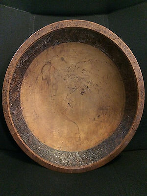 Vintage Primitive Wooden Dough Bowl Carved with woman's face and leaves 13 inch