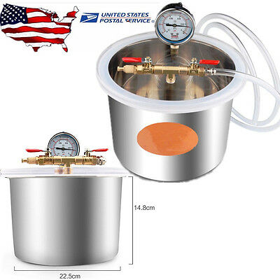 5L Degassing Vacuum Chamber Stainless Steel Barrel Silicone w/ Air hose USA