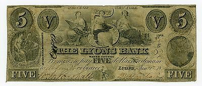 1862 $5 The Lyons Bank - Lyons, NEW YORK (Spurious) Note