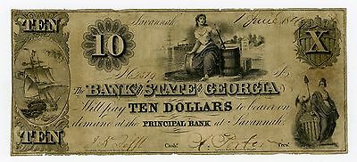 1849 $10 The Bank of the State of GEORGIA Note
