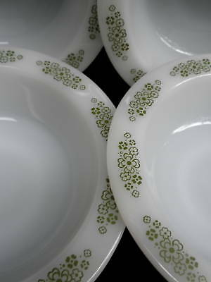 Anchor Hocking Milk Glass 1970s Soup Bowl x 5 Springwood 6.75in Retro Floral Vtg