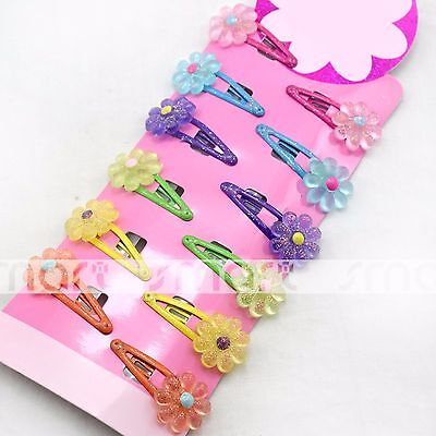 12pcs Mixed Flower Design Baby Hair Clip Snaps Accessories for Girls 1 Set