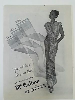 1945 women's McCallum and Propper Hosiery stockings she wears them ad