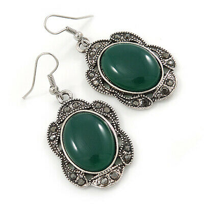 Victorian Style Green Resin Stone Oval Drop Earrings In Burnt Silver Tone - 50mm