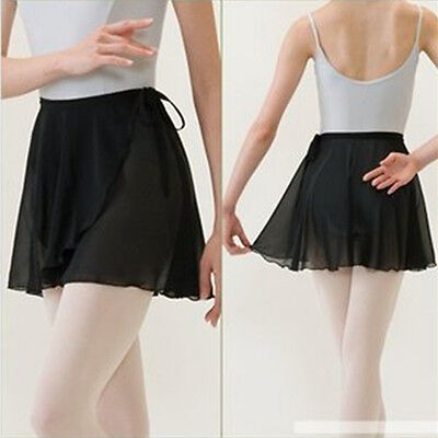 HUALI Adult Girl Women Chiffon Ballet Tutu Dance Skirt Skate Wrap Scarf Black