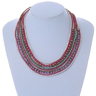 Multistrand White/ Raspberry/ Purple/ Turquoise Glass Bead Collar Style Necklace