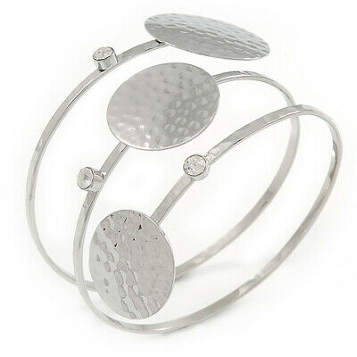 Triple Circle with Hammered Deatailing, Crystal Upper Arm/ Armlet Bracelet In Si