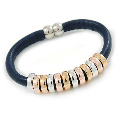 Dark Blue Leather with Silver/ Gold /Rose Gold Metal Rings Magnetic Bracelet - 1