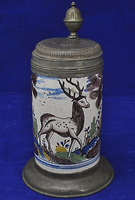 Antique 18th Century North German Faience Polychrome Stag Beer Stein
