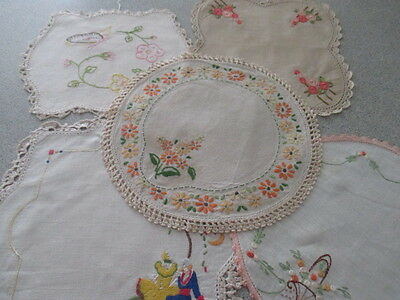 Vintage Retro Shabby Chic Doilies x 5.Embroidered & Crochet Edging. KITSCH
