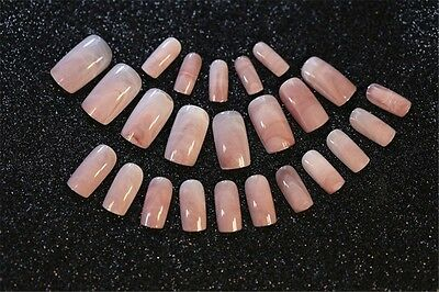 24 Pcs Pink Marble Pattern Acrylic Designer French False Oval Nails With Glue
