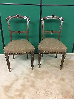 Antique Victorian Pair Of Mahogany Upholstered Chairs