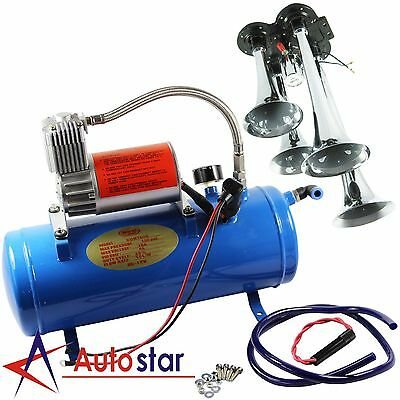 4 Trumpet Air Horn 120PSI Air Compressor 1ft Hose 12V 150dB Train Kit Truck Boat