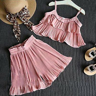 2PCS Kids Baby Girls Summer Tank Tops Dress+Short Pants Outfits Clothes Set 2-7Y