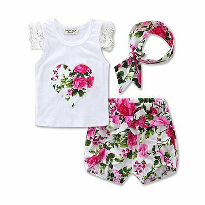 3PCS Toddler Kids Baby Girls Summer T-shirt Tops+Short Pants Outfits Clothes Set