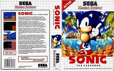 Sonic 1 Sega Master System Replacement Box Art Case Insert Cover Scan Reproduct.