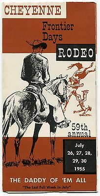 """1955 Brochure: """"59th Annual Cheyenne Frontier Days Rodeo"""" [Wyoming]"""