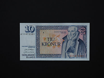 Iceland 10 Kronur P48  -  Quality Early Issue -  Super Notes   * Top Unc  *
