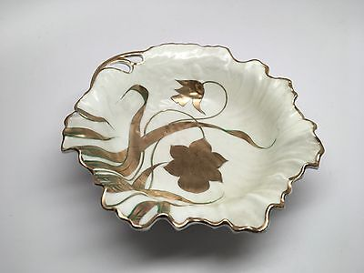 Antique SILESIA Germany Scalloped Lustre Bowl - Hand Painted Gold Gilt Flowers